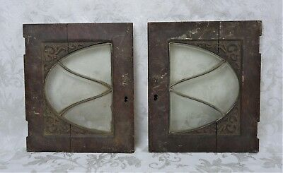 Antique 19th Century Mission Arts and Crafts Carved Wood Cabinet Cupboard Doors