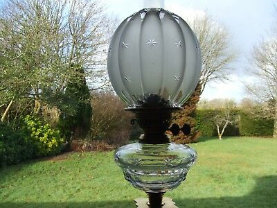 Victorian Cut-Glass Oil Lamp with Star Cut Melon Shaped Shade.