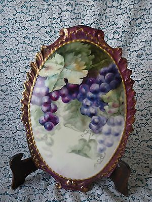 LIMOGES FRANCE Coiffe Mark - OVAL Hand-Painted CLUSTERS OF GRAPES Wall Plaque