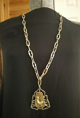 Huge rare vintage Art signed Egyptian Revival bird necklace Statement piece