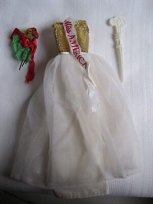 Vintage Barbie Miss America Dress with Flower Bouquet and Curling Wand