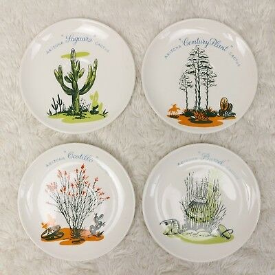 """🌵 RARE 4 Vintage BLAKELY Oil and Gas Cactus POTTERY Stoneware 6"""" Plates SET Lot"""