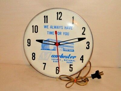 Manchester National Savings Bank Electric Clock w/Glass NOT working Alum. back