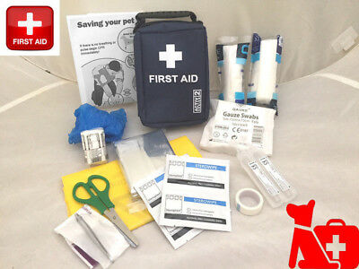 Pet First Aid Kit Bag  Ideal for Dogs - 22 Items with CPR Heat Stroke Guide