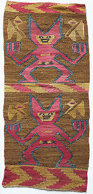 Pre Inca Textile Fragment - People and Bird Pattern, Andean, Wari/Nazca Culture