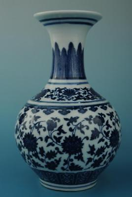 chinese old hand-made Blue & White porcelain Hand painted flower pattern vase