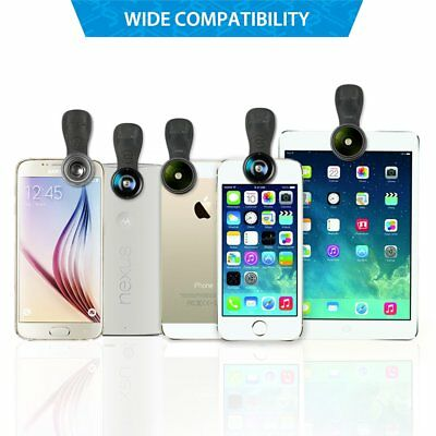 Mpow 3in1 Fish Eye+Macro+Wide Angle Clip On Camera Lens Kit For iphone Samsung
