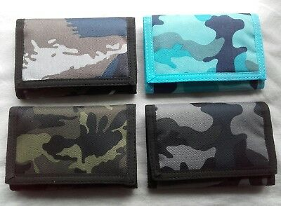 Men's Boy's Lorenz valcro camouflage wallet with zip in nylon FOUR COLOURS