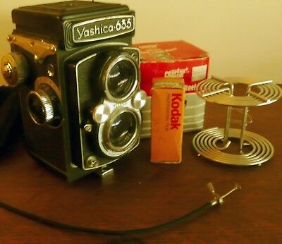 Vintage Yashica 635 Camera and developing spool vintage film and shutter cable