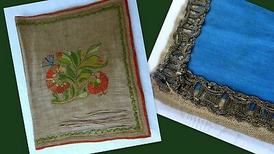 Antique Embroidered Silk Textile Book Cover 18th 19th Century Georgian Victorian