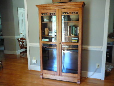 Antique Tall Glass Door Bookcase TV Entertainment Center Cabinet Cherry Stain