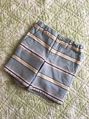 Janie And Jack Easter Sage Green With Chambray/Yellow/Orange Stripe Shorts 2T