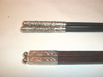 Two Sets Intricate 800 Silver Tipped Wood Wooden Chopsticks Lovely
