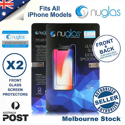 2x NUGLAS Screen Protector Tempered Glass for Apple iphone 8 7 6 S PLUS Xs Max