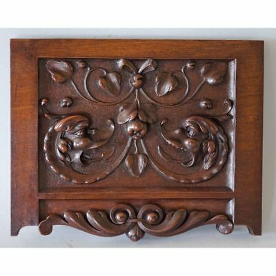 Superb Antique French Carved Walnut Mythological Dragon Panel