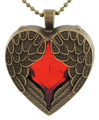 Stylish Bronzed Red Heart Angel Wings of Love Ball Chain Pendant Neck