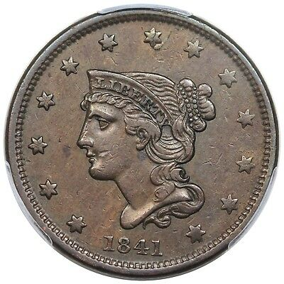 1841 Braided Hair Large Cent, N-3, PCGS XF45
