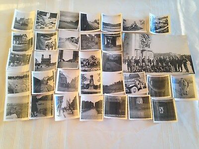 Lot of 33 original WWII Photos France, street scenes, army truck, old car, cafe