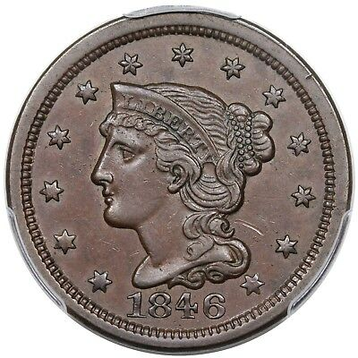 1846 Braided Hair Large Cent, Small Date, N-20, R.3, PCGS AU50