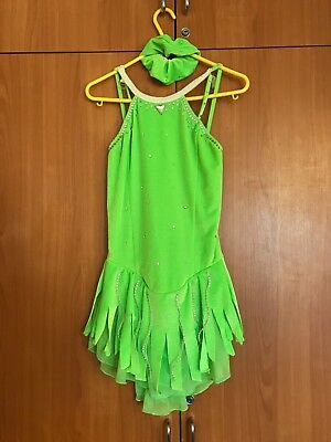 Lime green ice skating dress, size small, with Swarovski crystal design