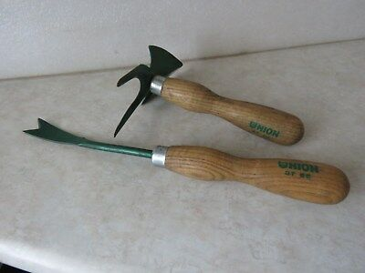 Vintage Set Of Union Garden Tools With Original Green Paint & Solid Oak Handles