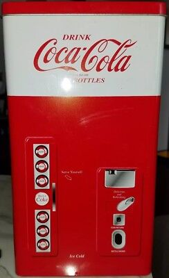 Coca Cola 4 PC 8 Oz Glass Set In Coke In A Coca Cola Machine Tin *Brand New*