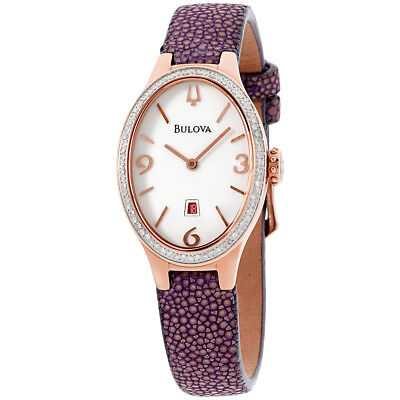 Bulova Diamond White Dial Leather Strap Ladies Watch 98R198