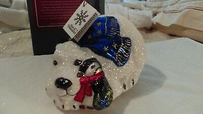 Christmas ornament glass large polar bear & penguins Slavic Treasures poland