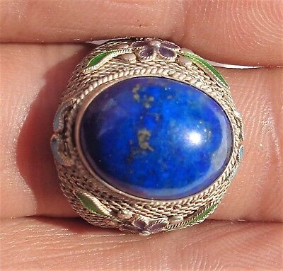 CINA (China): Vintage Chinese silver filigree ring with lapis
