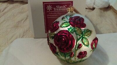 Christmas ornament glass large ball full bloom red roses Slavic Treasures poland