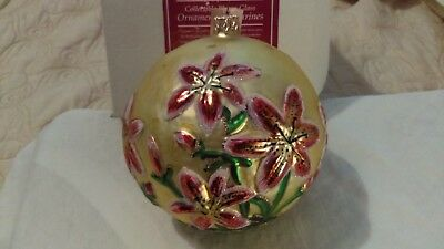 Christmas ornament glass large ball full bloom tiger lillies Slavic Treasures