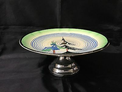 CLARICE CLIFF PINEGROVE V RARE CAKEPLATE EXCELLENT CONDITION C1930s