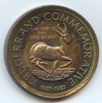 So. Africa .999 Silver Krugerrand Nicely Toned. Carefully Check out the Photos.