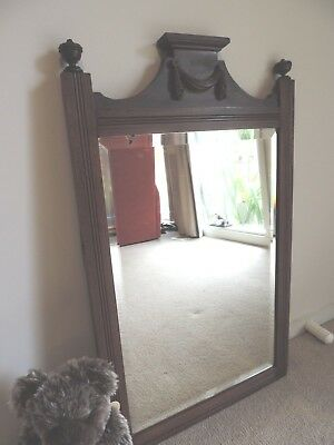 Edwardian Over Mantle, Bedroom, Hallway Mirror Mahogany Frame with Swag Carving