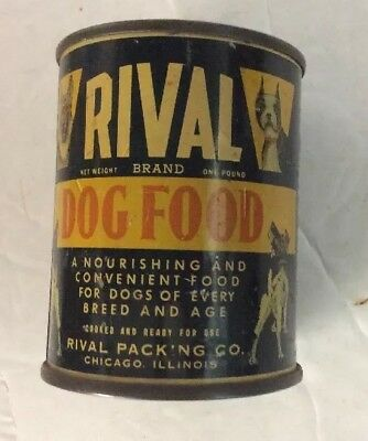 Vintage Rival Dog Food Metal Miniature Tin Can Coin Savings Bank 3 inches tall
