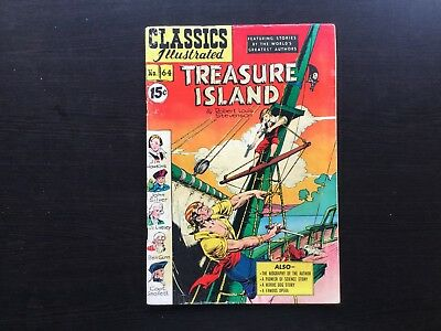 Classics Illustrated #64 Treasure Island (HRN 82) Robert Louis Stevenson GD+