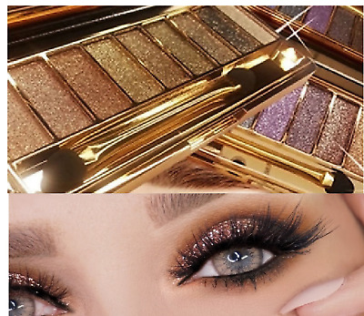 Diamond Eye Shadow Palette & Makeup Brush Professional 9 Colour Bright Set UK