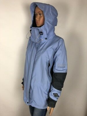 Women COLUMBIA TITANIUM OMNI TECH SNOW SUIT Blue Hooded SKIING Jacket XL