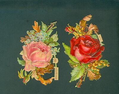 Victorian Die Cut Scrap Very old FLOWERS  roses WH #11175 ORIGINAL