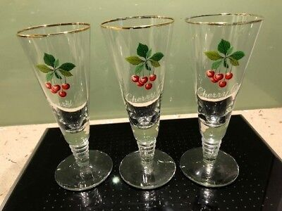 Three original vintage 1950's Cherry B Flute Glasses