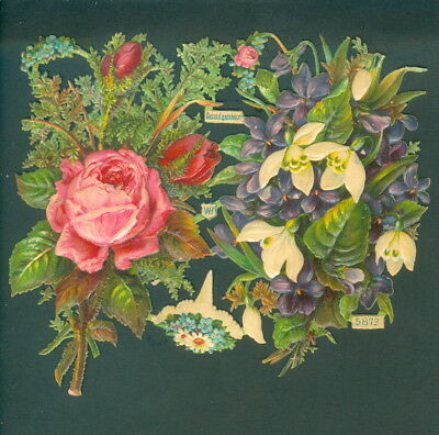 Victorian Die Cut Scrap Very old FLOWERS ROSES  ORIGINAL wh 5873