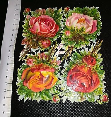 Victorian Die Cut Scrap Very old  roses ORIGINAL k&b #1734