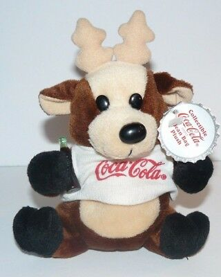 """Coca-Cola Bean Bag Plush Toy Brand #0133 1997 Reindeer In Shirt With Tag 5.5"""""""