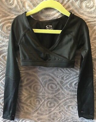 DANCE black CROP TOP with thumb holes XS 4 5 by Champion Ballet Gymnastics cross