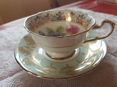 paragon vintage fine bone china floral and gold tea cup with plate england