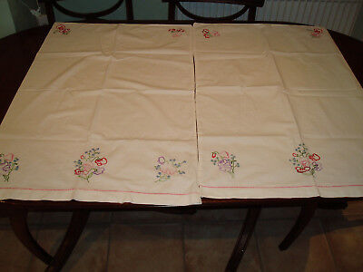 Pair Vintage Hand Embroidered Pillow Cases