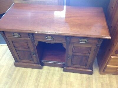 Ladies late Victorian Kneehole -Kennel Deep Solid  Mahogany Desk 4' Width