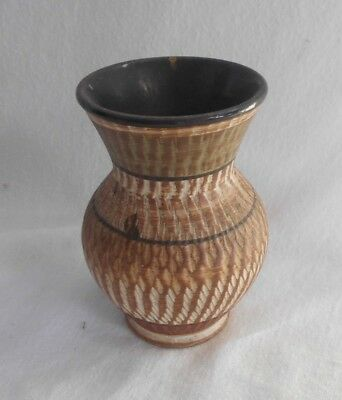 Stunning CHARMING Rustic HAND MADE Studio POTTERY Brown VASE 12cms VINTAGE
