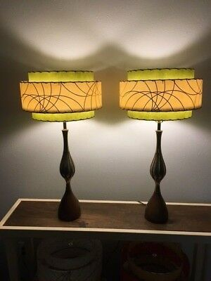 Pair of Mid Century Vintage Style 3 Tier Fiberglass Lamp Shades Olive Green