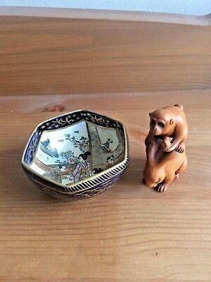 Japanese Wooden  Netsuke And Pretty Sake Cup